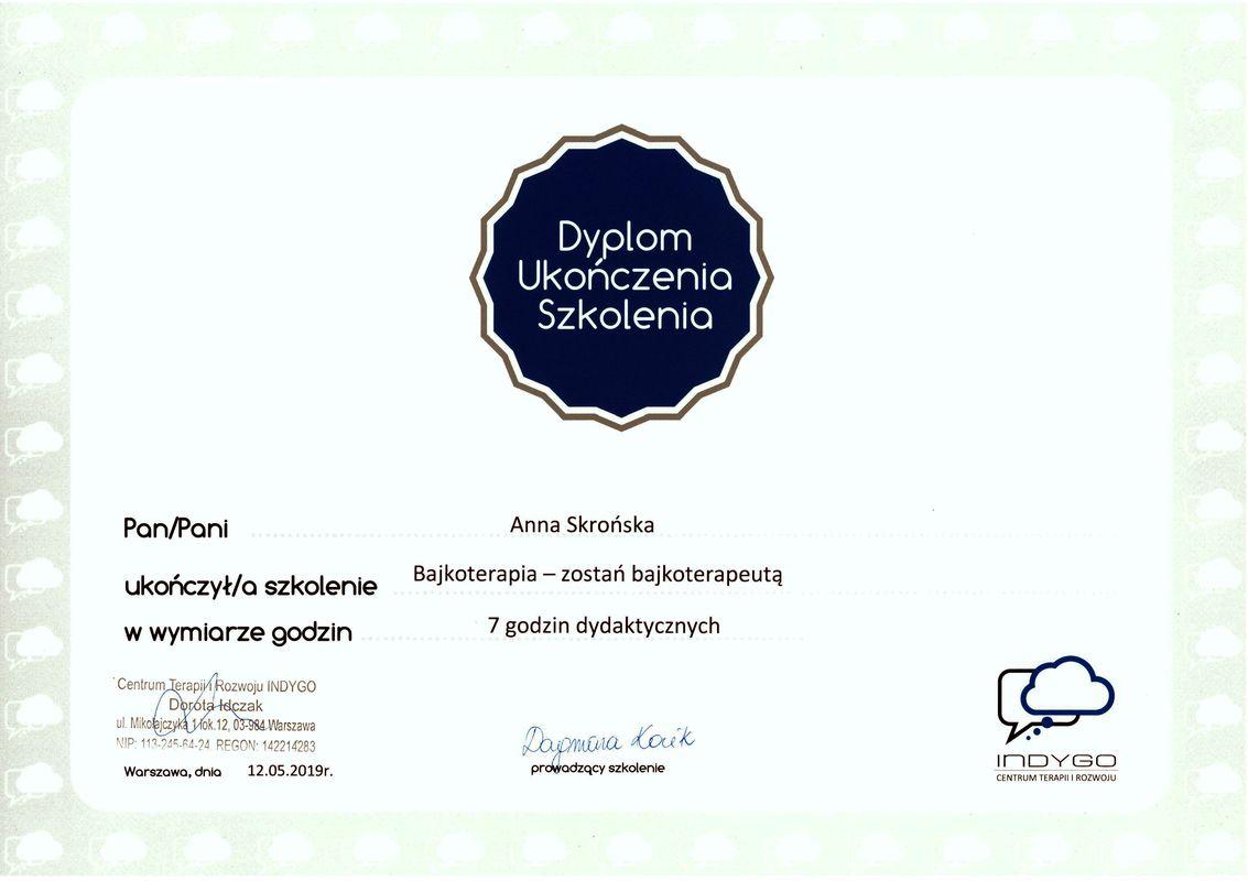 Dyplom Bajkoterapia