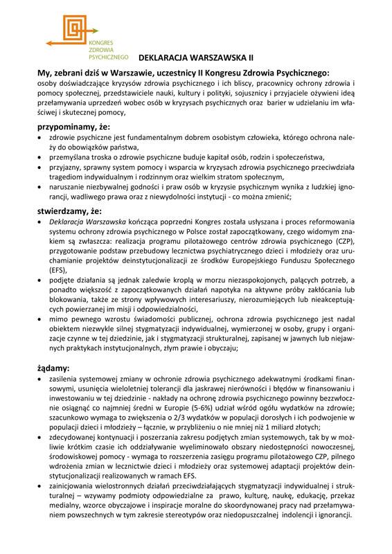 Zdrowie psychiczne w Deklaracji Warszawskiej II