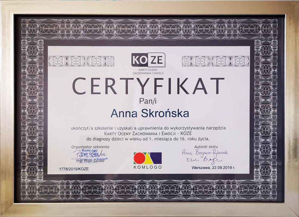 Certyfikat KOZE