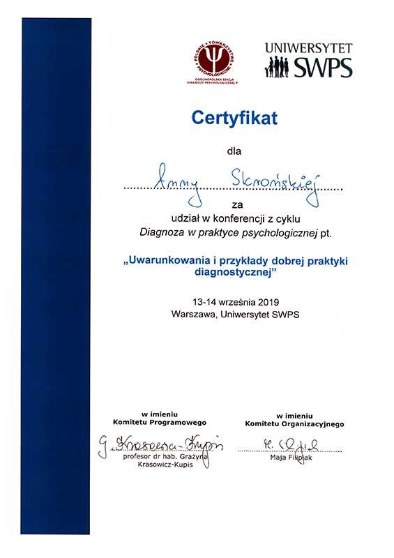 Certyfikat uczestnictwa w konferencji Uwarunkowania i przykłady dobrej praktyki diagnostycznej